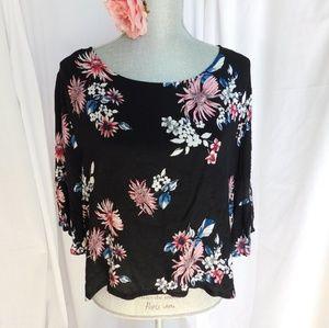 Black Floral Flowy XL Top